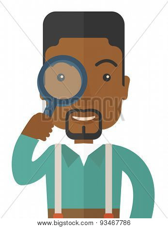 A black man with magnifying glass. A Contemporary style. Vector flat design illustration isolated white background. Vertical layout