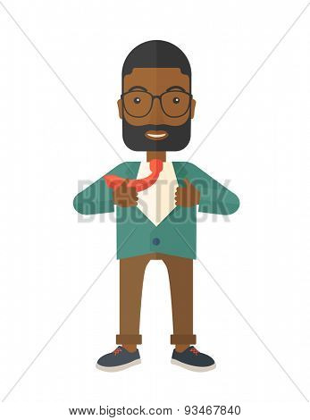 A happy working african man want to change his clothes as to change his position in the company. Successful concept. A Contemporary style. Vector flat design illustration isolated white background