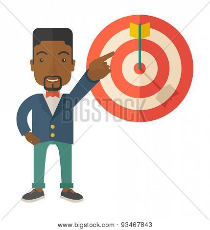 A black salesman happy standing while his hand pointing to the arrow from target pad shows that he hit his target sales. Business concept. A Contemporary style. Vector flat design illustration