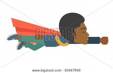A superhero black businessman flying high to achieve his goal. Challenge concept.  A Contemporary style. Vector flat design illustration isolated white background. Horizontal layout.