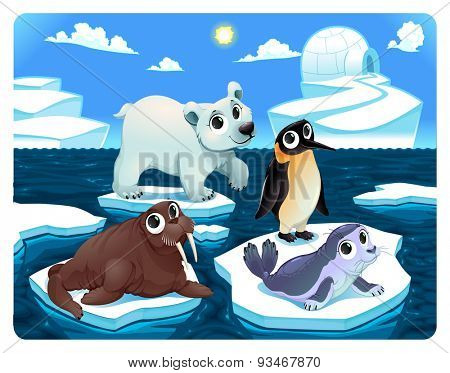 Polar animals on the ice. Vector and cartoon illustration