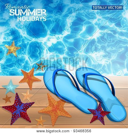 summer background with blue flip-flops.