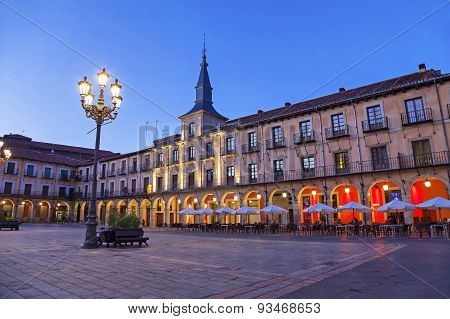 Plaza Mayor In The Evening, Leon