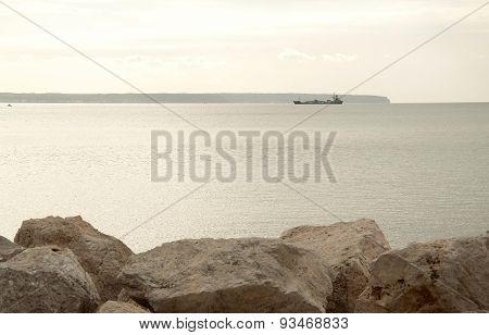 Cargo ship entering the bay