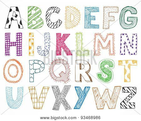 Hand drawn kids children letter alphabet