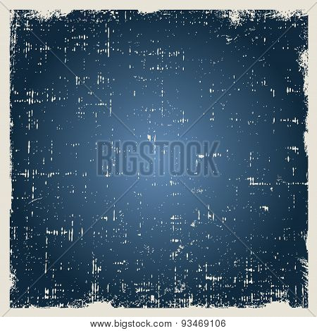 Grunge vector blue background texture with dust and rough edges