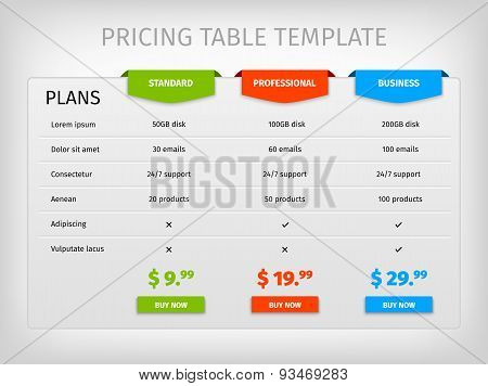 Colorful comparison pricing table template
