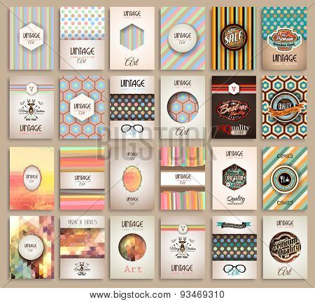 Vintage Styles brochure templates set with Labels. Vintage background to use as frames for advertising. Old dated look.Retro Patterns for Placards, Posters, Flyers and Banner Designs