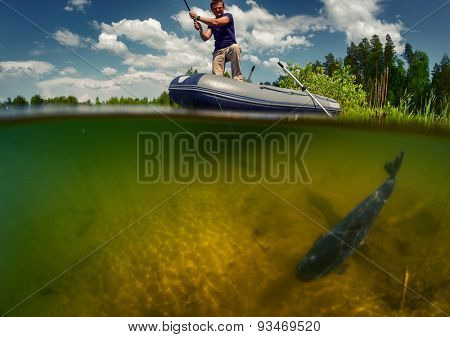 Split shot of the fisherman with rod in the boat and underwater view of the fish near a bottom