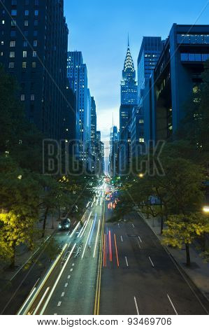 Traffic At Night On 42Nd Street, New York City
