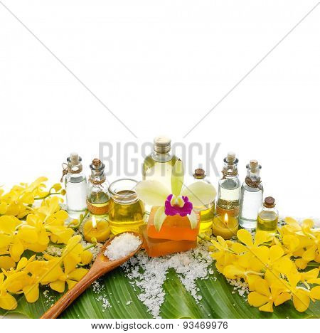 Spa set on banana leaf ,yellow orchid