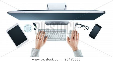 Businessman Working At Office Desk