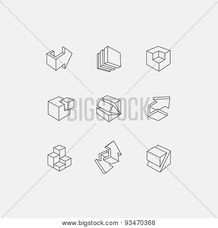 Set of 3d icons. Vector illustration with abstract arrows and cubes, low poly style.
