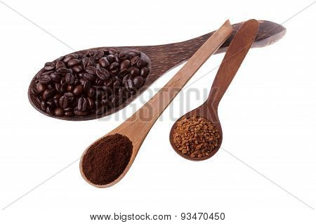 Spoons with coffee