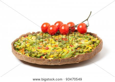 veggie pizza or pie with bunch of cherry tomato on white background