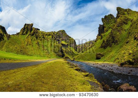 Scenic summer Iceland. The photo was taken Fisheye lens. The canyon Pakgil is located among fantastic rocks