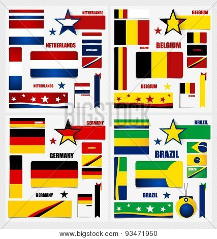Collection of Brazil Flags, Belgium Flags, Germany Flags, Netherlands Flags, Flags concept design. Vector illustration.