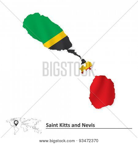 Map of Saint Kitts and Nevis with flag - vector illustration