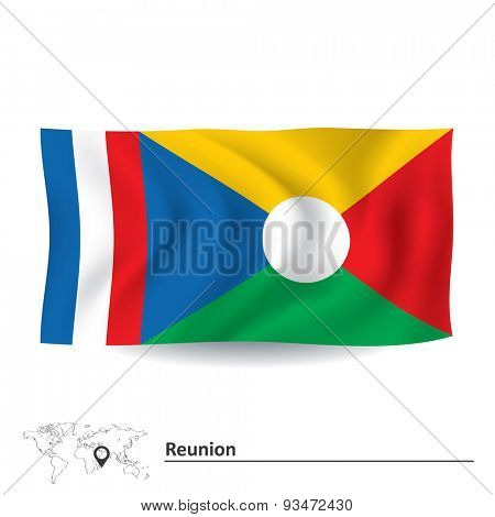Flag of Reunion - vector illustration