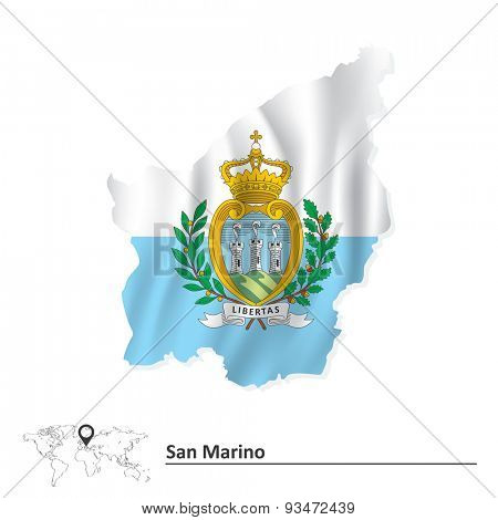 Map of San Marino with flag - vector illustration