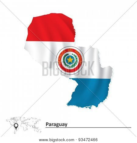 Map of Paraguay with flag - vector illustration