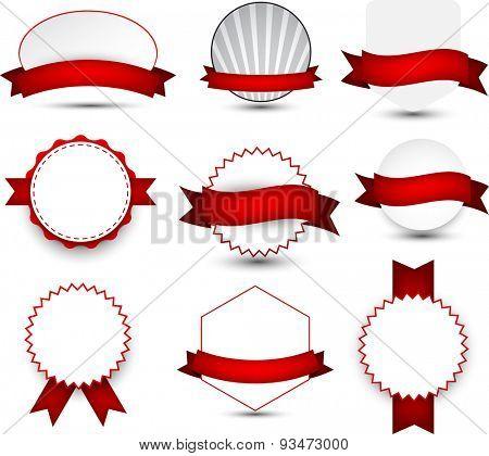 Set of red ribbons and award badges. Vector illustration.