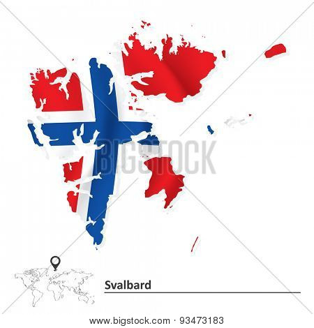Map of Svalbard with flag - vector illustration