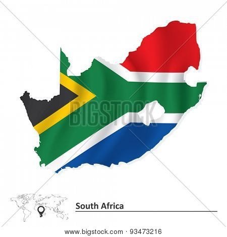 Map of South Africa with flag - vector illustration