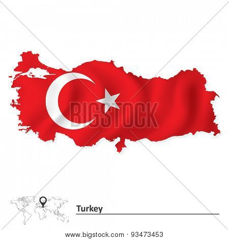 Map of Turkey with flag - vector illustration