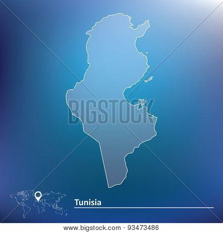 Map of Tunisia - vector illustration