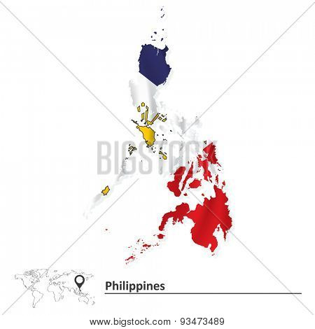Map of Philippines with flag - vector illustration