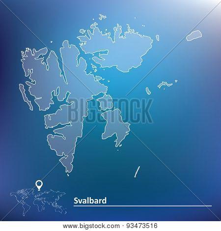 Map of Svalbard - vector illustration