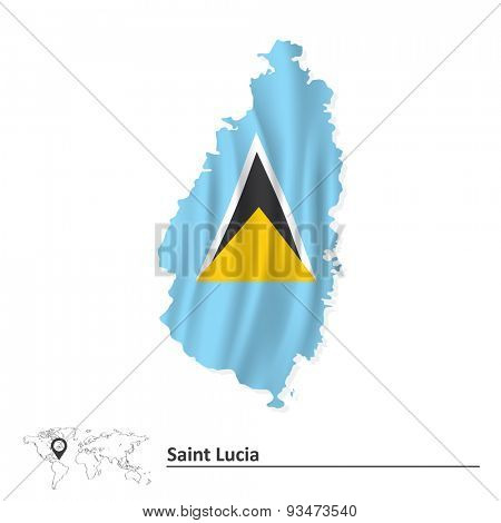 Map of Saint Lucia with flag - vector illustration