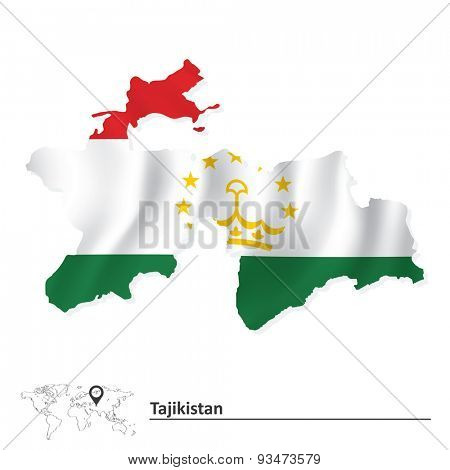 Map of Tajikistan with flag - vector illustration