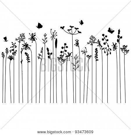 Seamless pattern brush with stylized summer flowers. Endless horizontal texture. Contour, outline.Black silhouette.