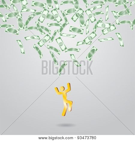 Background with money falling from above.