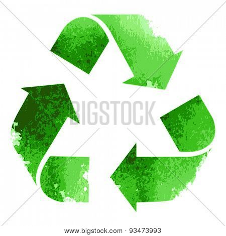 Green recycle sign isolated on white background