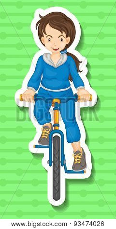 Sticker of a woman riding a bicycle on a green background