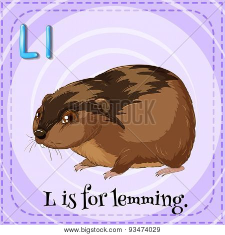 Flashcard of a letter L with a picture of a lemming
