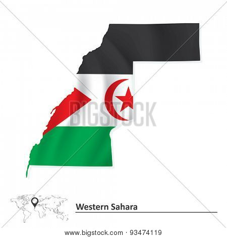 Map of Western Sahara with flag - vector illustration