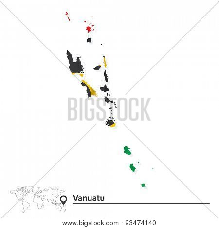 Map of Vanuatu with flag - vector illustration