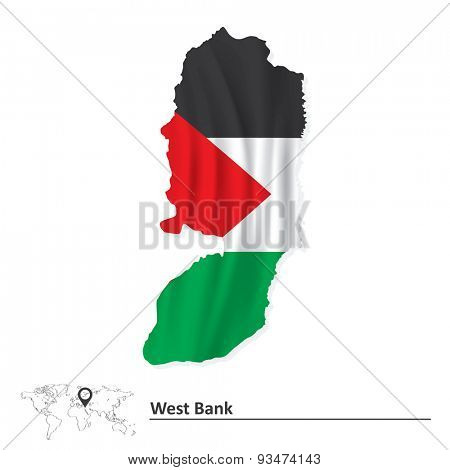Map of West Bank with flag - vector illustration