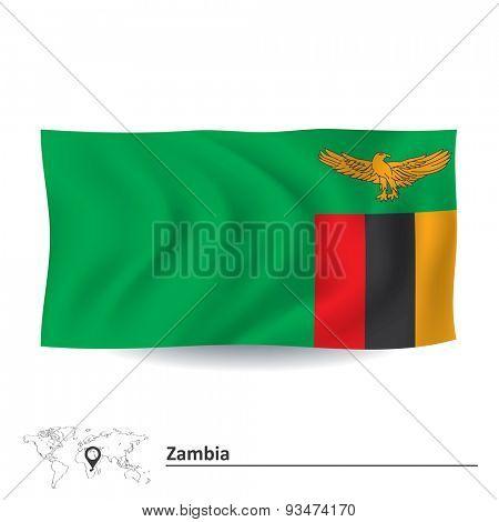 Flag of Zambia - vector illustration