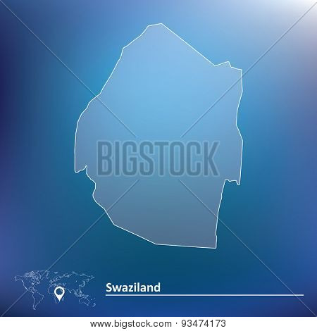 Map of Swaziland - vector illustration