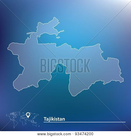 Map of Tajikistan - vector illustration