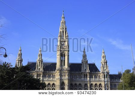 Building Of Town Hall In Vienna - Rathaus, Built In Gothic Style