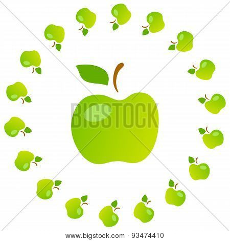 Bright Art Illustration Of Green Mellow Apples.