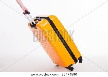 Travel case and hand on white background