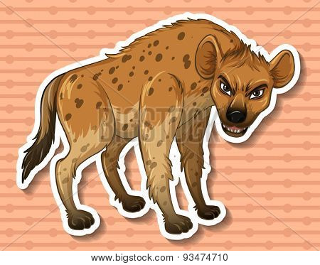 Sticker of a hyena on a brown background