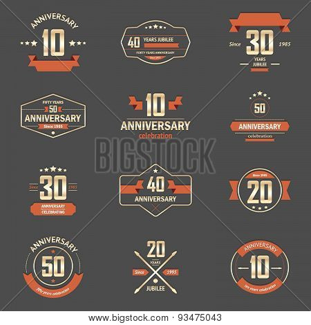 Vector set of anniversary signs, symbols. Ten, twenty, thirty, forty, fifty years jubilee design ele